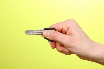 Key in hand on green background