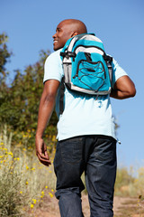 Young  man on country hike