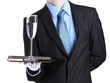 formal waiter with a glass of water