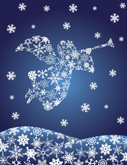 Angel with Trumpet Silhouette with Snowflakes Illusrtation