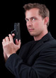 Male caucasian model with a gun