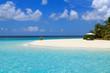 Beautiful blue lagoon and white bank