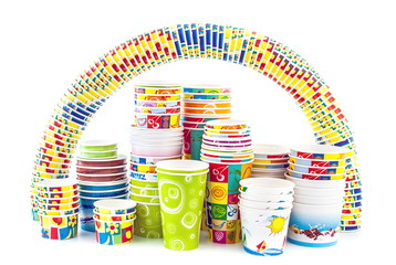 Rainbow of ice cream paper cup