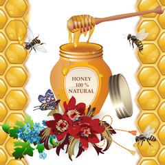 Jar of honey with wooden dipper, bees, cornflowers, peonies