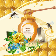Jar of honey with wooden dipper, bees and yellow rose