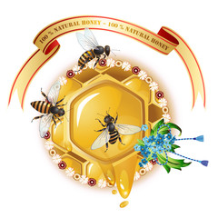 Three bees, honeycombs, ribbon and cornflowers