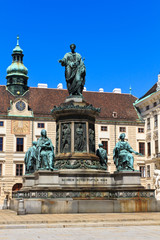 Vienna Hofburg Imperial Palace Inner Courtyard with Status of Em
