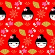Cute geisha seamless pattern (vector version)