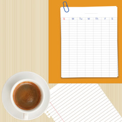 Business planner sheet and coffe cup on wood background