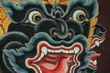 Monkey face mural in Buddhist temple, Thailand - 42225008