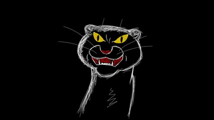 The drawing of a snarling panther
