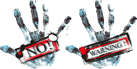 hand with warning signs