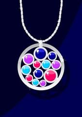 Elegant jewelry with color gemstones on dark blue background.