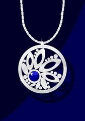 Elegant jewelry with blue gemstone on dark blue background.