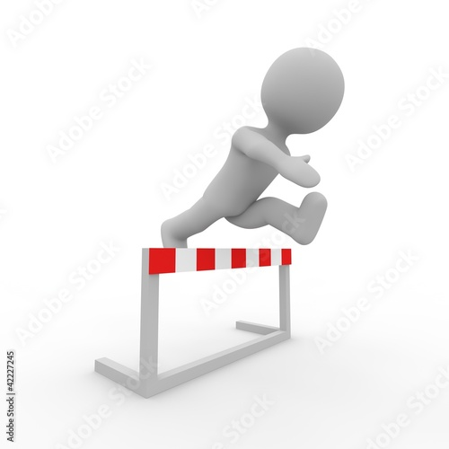 grey figure jumping over a striped hurdle