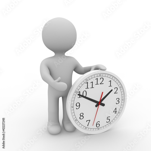 grey figure holding an analogue clock