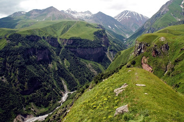 Famous Georgian Military Highway, Caucasus mountains, border bet