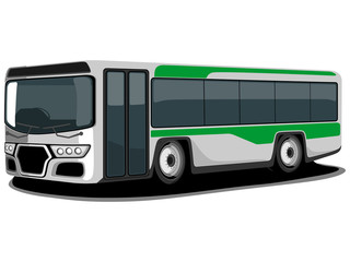 Vector illustration of a green and white Bus.