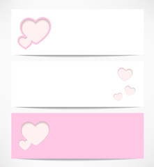 banners with hearts. Valentine's Day card. vector background