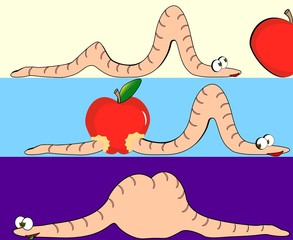 Illustration of the worm swallowed the apple