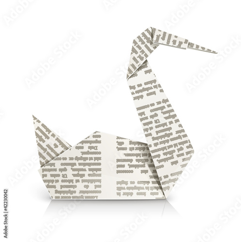 swan origami toy vector illustration isolated on white