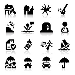 Insurance icons set Elegant series