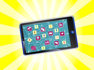 smartphone social media and social network concept