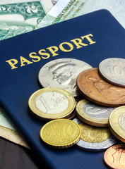 passport with world currency