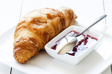 Croissant with raspberry jem