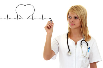 Female doctor drawing a heartbeat