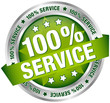 "Button Banner ""100% Service"" Green/Silver"