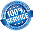"Button Banner ""100% Service"" Blue"