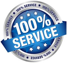 "Button Banner ""100% Service"" Blue/Silver"