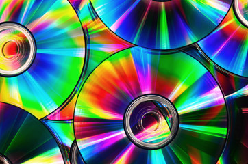 CDs with rainbow colors