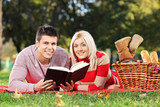 A loving couple reading a book during a picnic