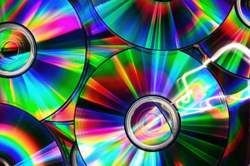 CDs with rainbow colors - light paint