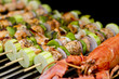 Salmon Skewers and Lobster