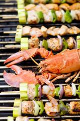 Lobster and Salmon Veggie Skewers