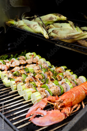 Seafood Barbecue with Cornstalks