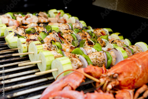 Salmon Skewers and Lobster BBQ