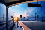 train stop at railway station with sunset - 42236498