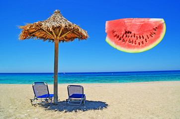 beach and a slice of watermelon
