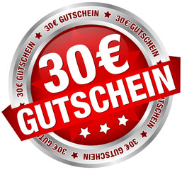 """Button Banner """"30 € Gutschein"""" rot/silber"""