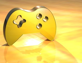 3D Game Pad Gold Sign