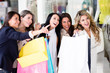 Group of friends shopping
