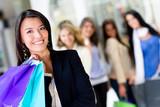 Woman at shopping center