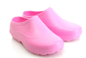 bright pink galoshes isolated on white