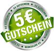 """Button Banner """"5 € Gutschein"""" grün/silber"""