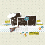 Scrap template with photo frames
