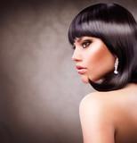 Fototapety Beautiful Brunette Girl. Haircut. Hairstyle